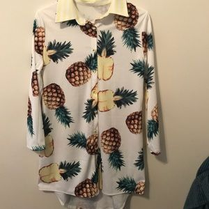 White Long Sleeve Collared High-low Top Pineapples